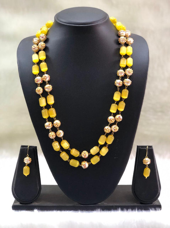 Layered  Lime Yellow and Gold Beads