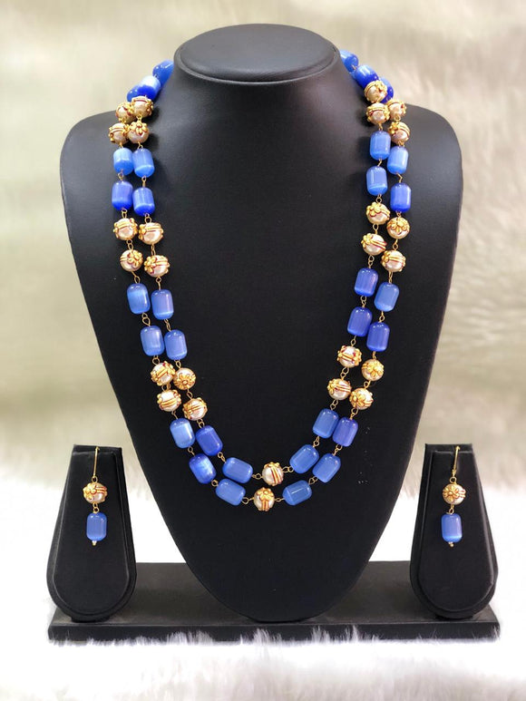 Layered Royal Blue and Gold Beads