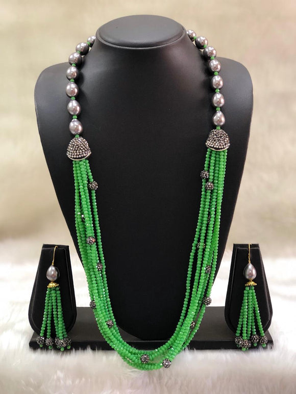 Incrediable Lime Green Decorative Necklace Set