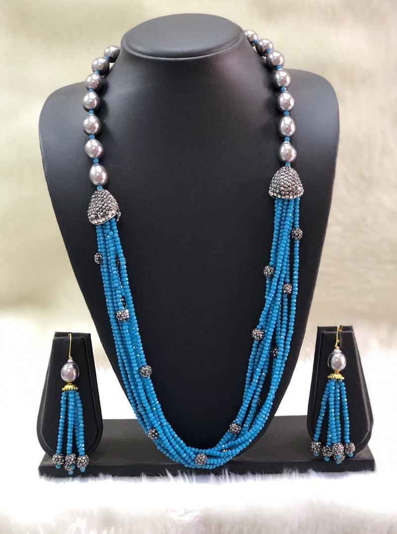 Incrediable Olive Egyptain Blue Decorative Necklace Set