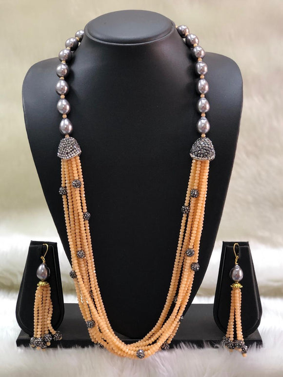 Incrediable Olive Light Orange Decorative Necklace Set