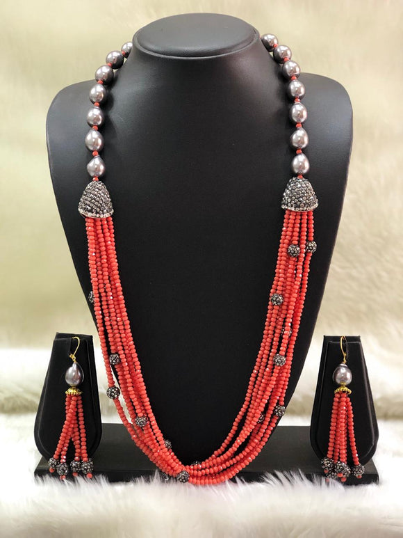 Incrediable Orange Decorative Necklace Set