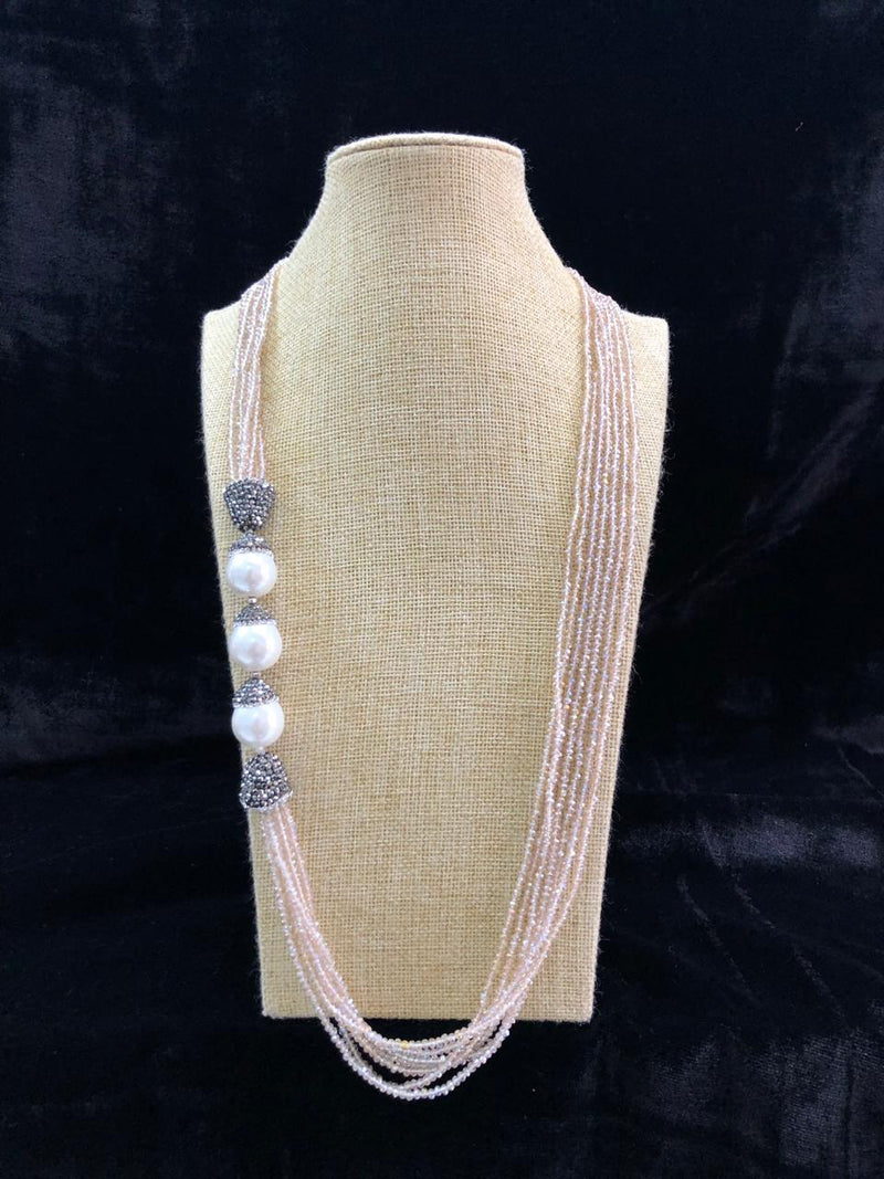 Splendid Side Pearl Whitish Brown Necklace