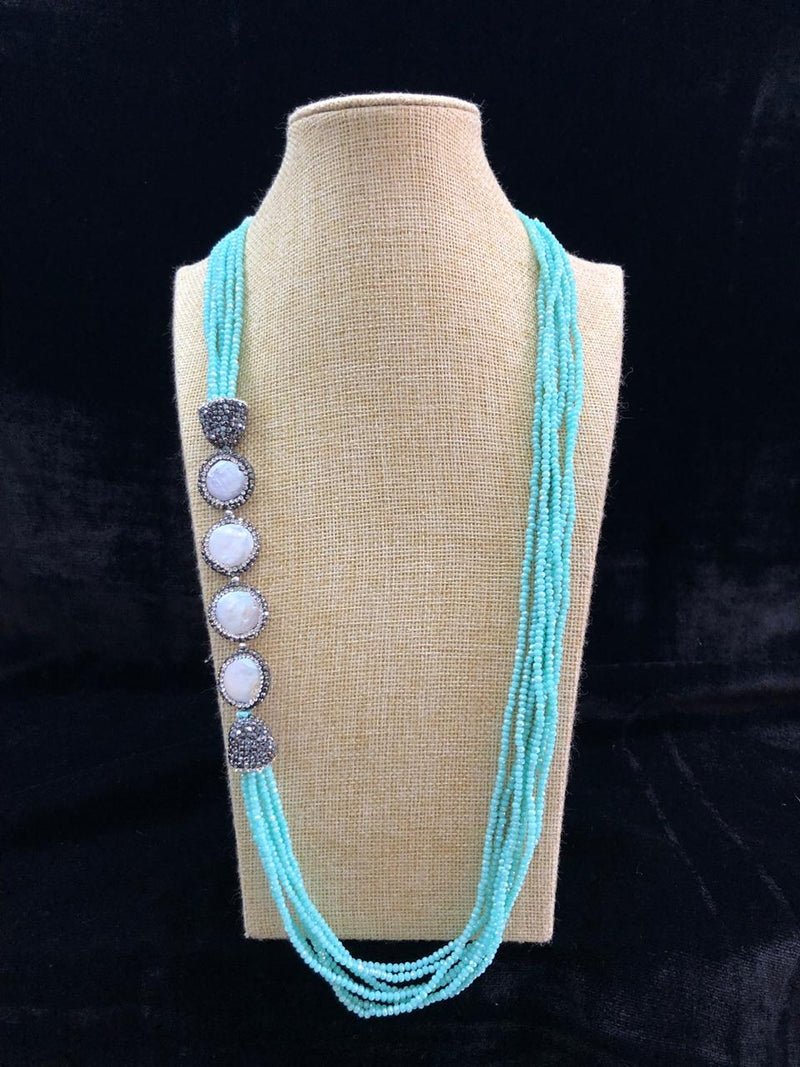 Radiant in Light Blue Side Baroque Necklace