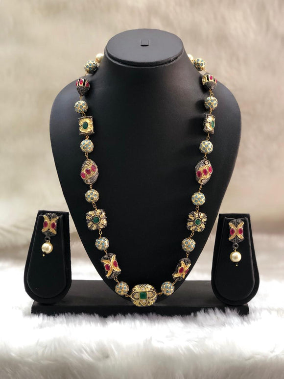 Studded  Ruby and Green Meena Work Necklace