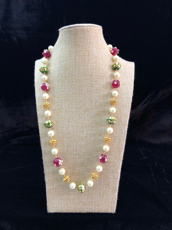 Multicolor Single Line Gold Beaded Necklace
