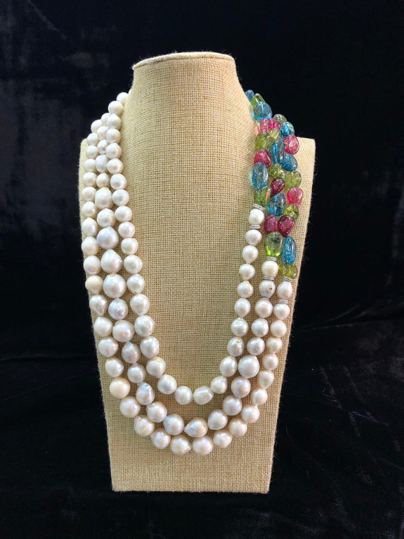 Luxurious Baroque Pearl Designer Necklace