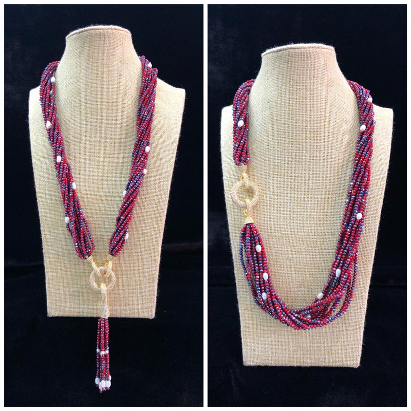 Red and Blue Mixtured Pearl Beaded Necklace