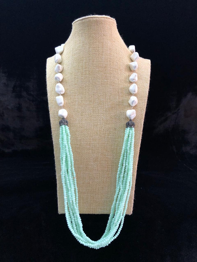 Mint Green Baroque Pearl Necklace