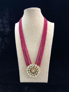 Pink Beaded Kundan Necklace Set