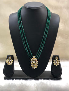 Dark Green Beaded Kundan Necklace Set