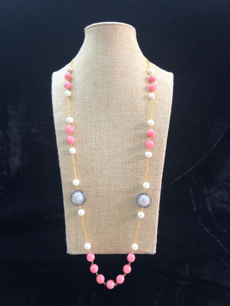 Charming Baby Pink Chained Necklace