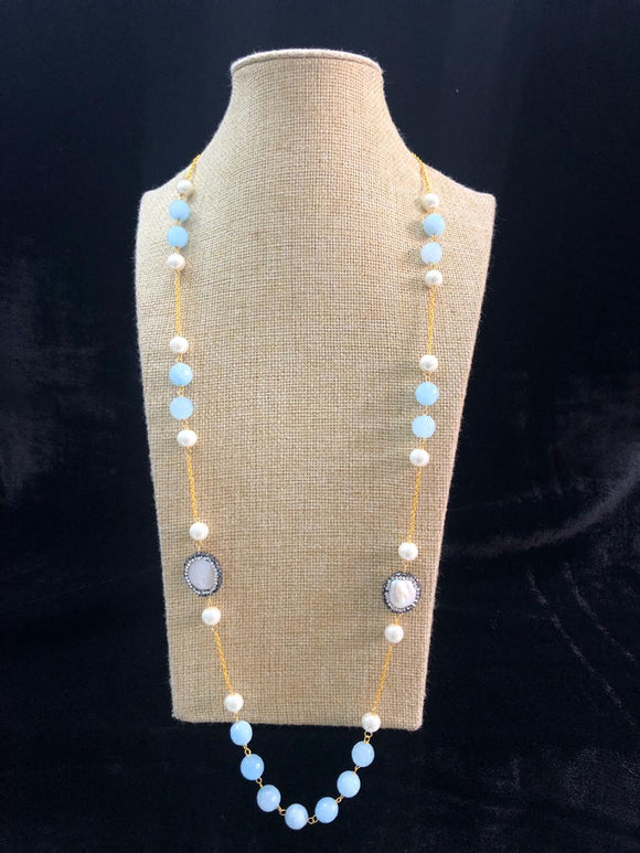 Charming Baby Blue Chained Necklace