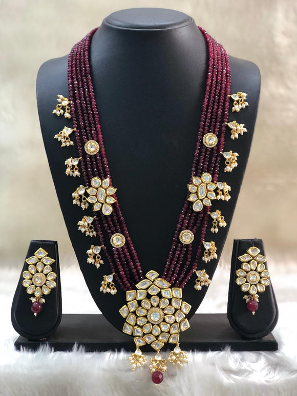Gracefully Kundan Maroon Beaded Necklace Set