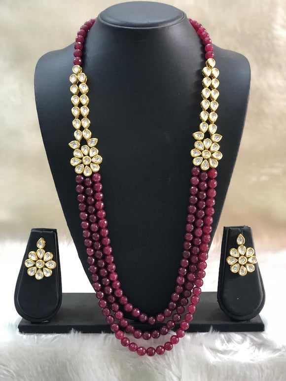 Maroon Beaded Three stranded Centric Pendant Necklace Set
