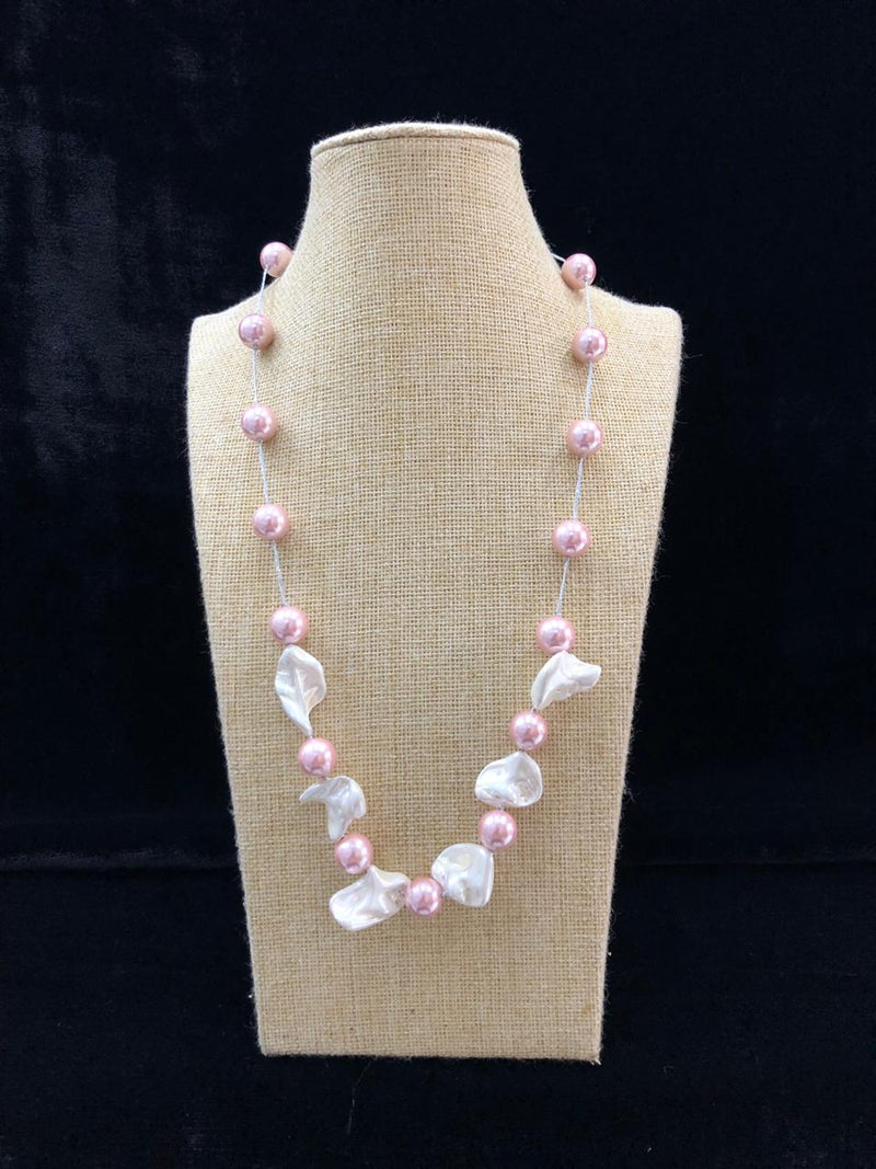 Mother of Pearl Pink Beaded Necklace