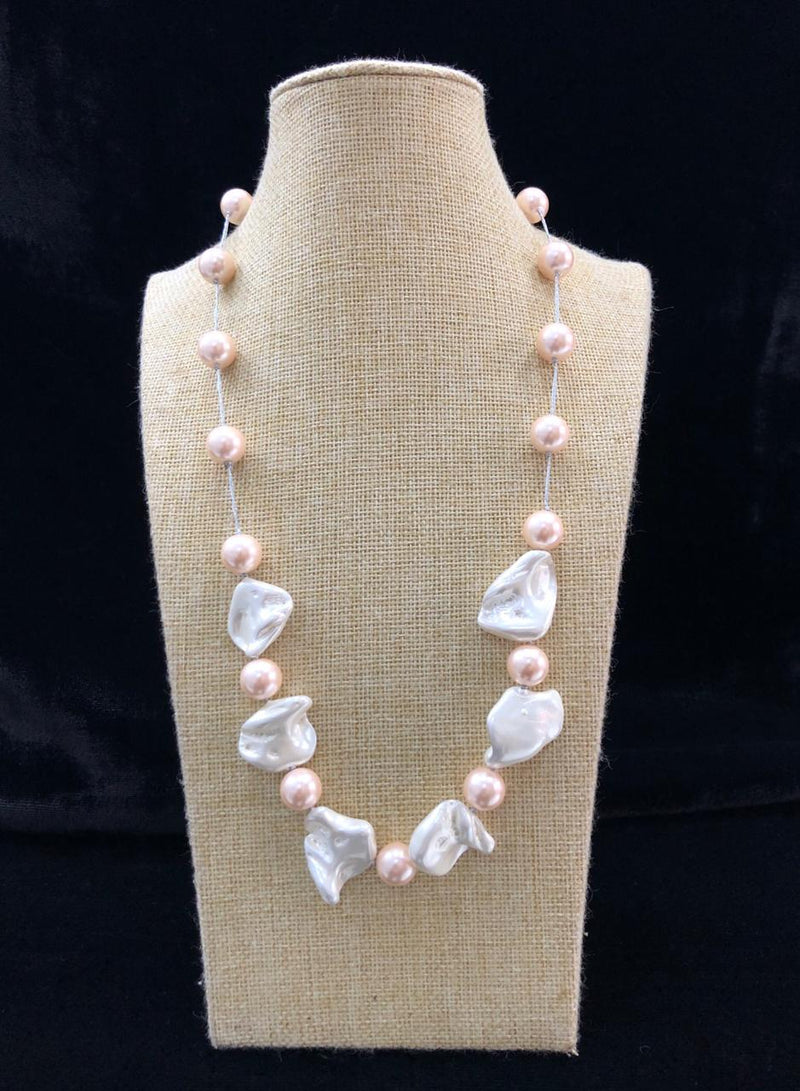 Mother of Pearl Peach Beaded Necklace