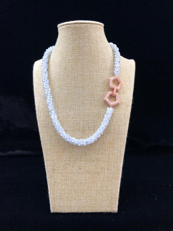 Druzy White Decorative Centric Necklace