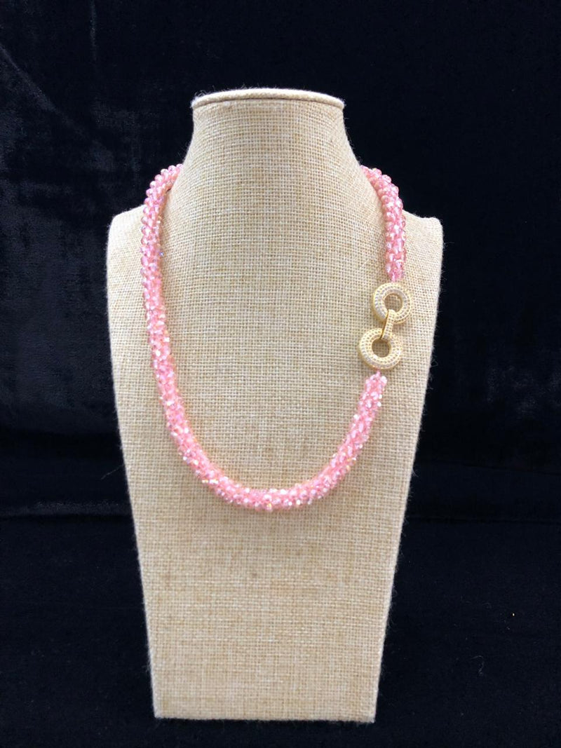 Pink  Pearl Threaded  Centric Pendant  Necklace