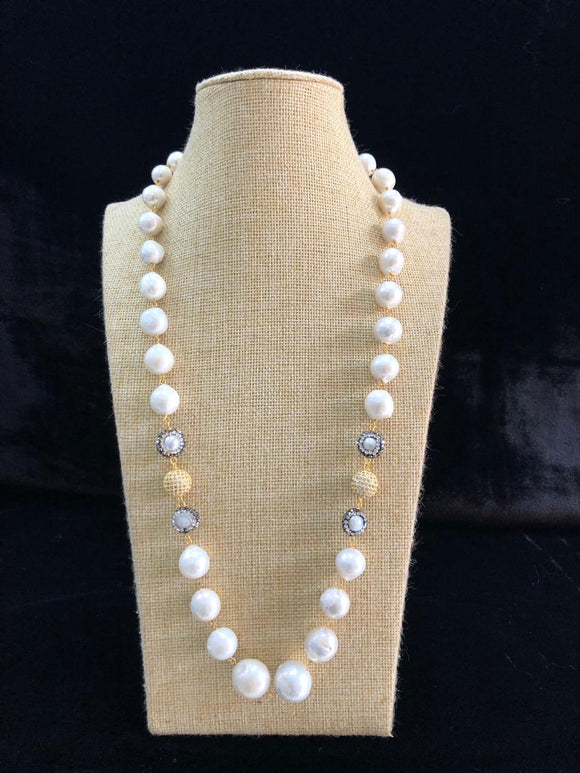 Crystal Beaded Shell Pearl Necklace
