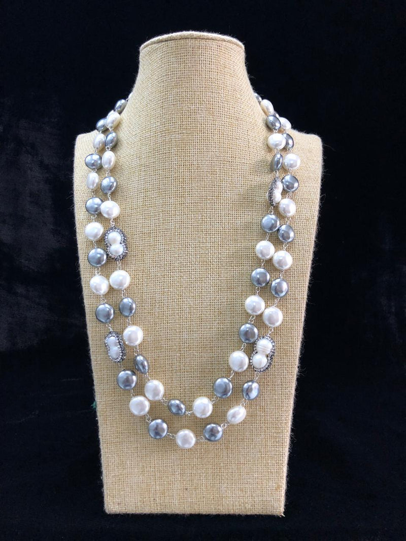 Two Stranded Grey and White Shell Pearl Necklace