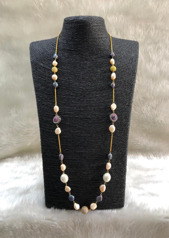 Single Line Long Gemstone Necklace