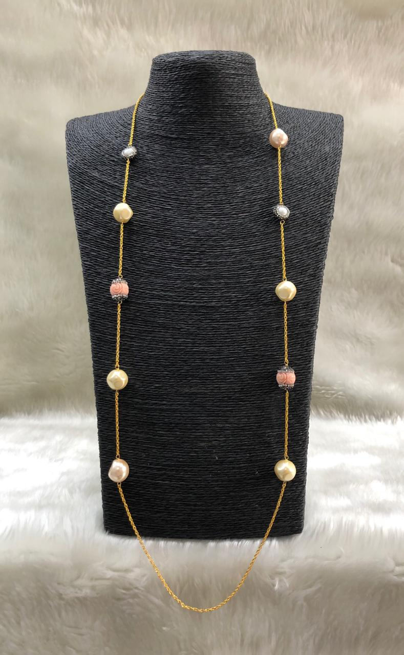 Sporty Peach Pink Gemstone Necklace