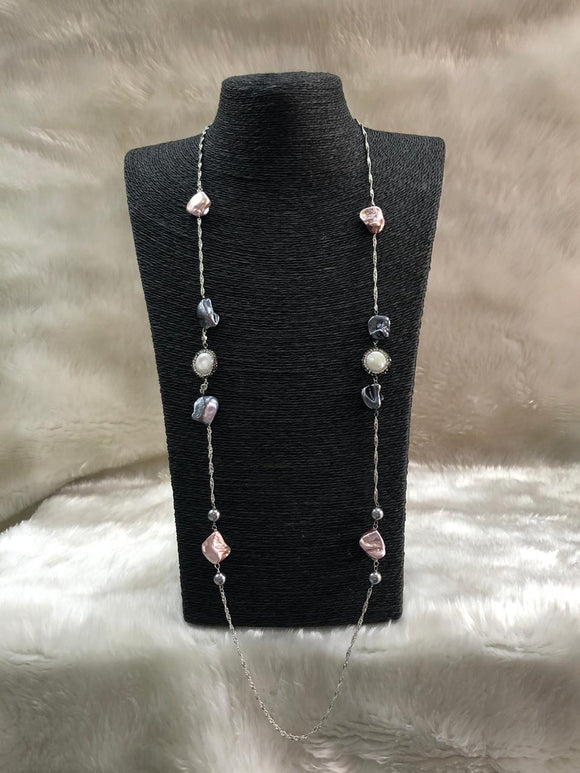 Fine Chain Long Gemstone Necklace