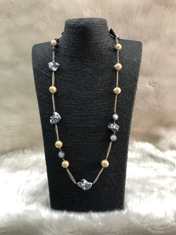 Distinctive Chain Long Gemstone Necklace