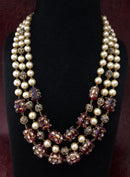 Intriguing Multistranded Mahogany Pearl Meena Necklace