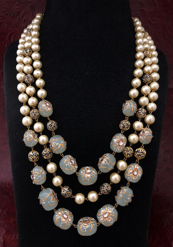 Intriguing Multistranded Blue Pearl Meena Necklace