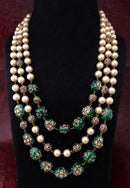 Intriguing Multistranded Dark Green Pearl Meena Necklace