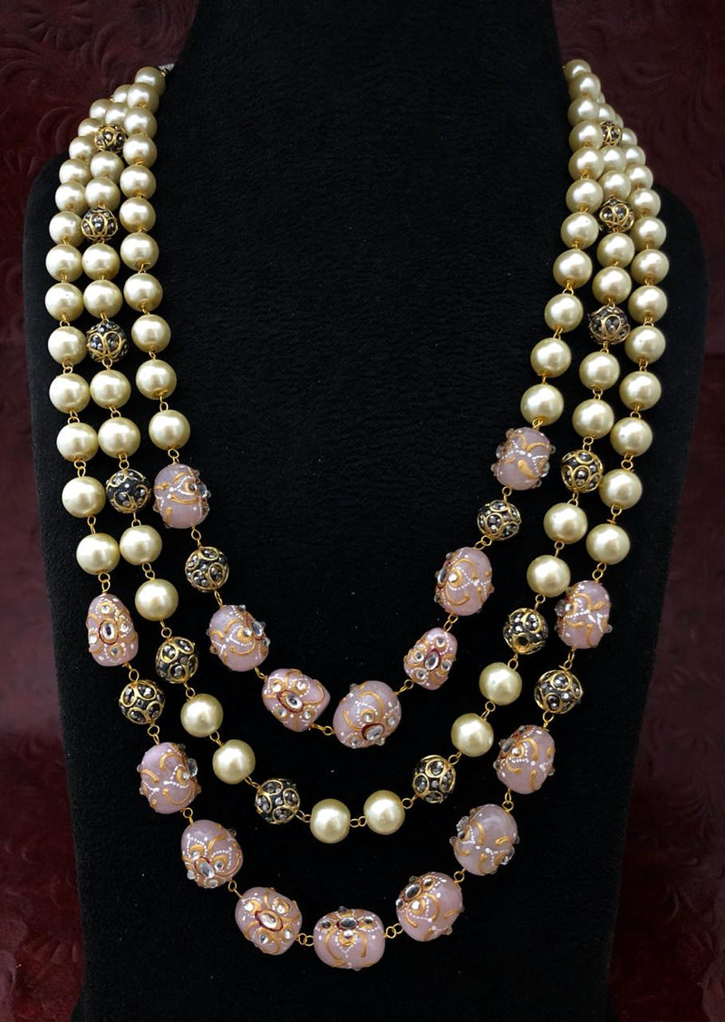 Intriguing Multistranded Peach Pink Pearl Meena Necklace