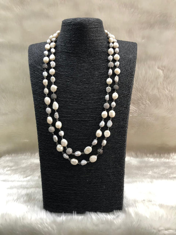 Two Line White Baroque Necklace