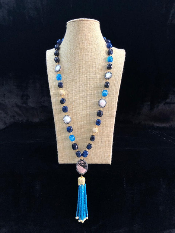 Shades of Blue Enabling Tassel Necklace
