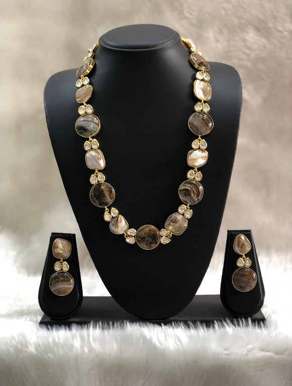 Single Line Shades of Brown Necklace Set