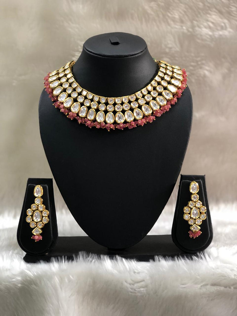 Choker Kundan Designer Red Necklace Set