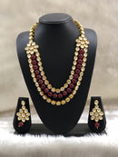 Floral Design Ruby Kundan Necklace Set