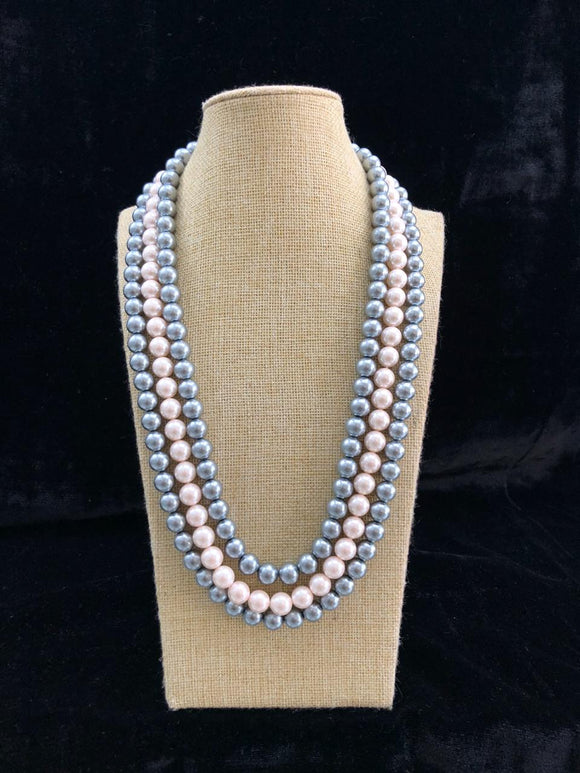 Glitzy Three Layered Silver Pearl Necklace