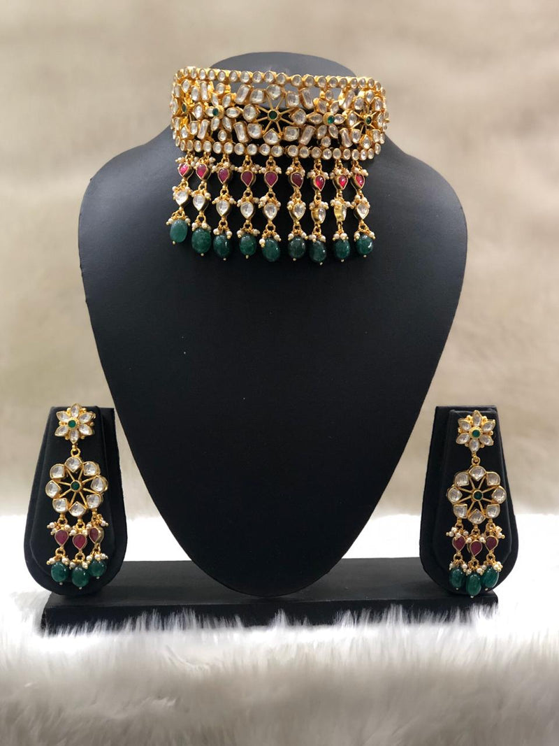 Shinning Moment Designer Kundan Necklace Set