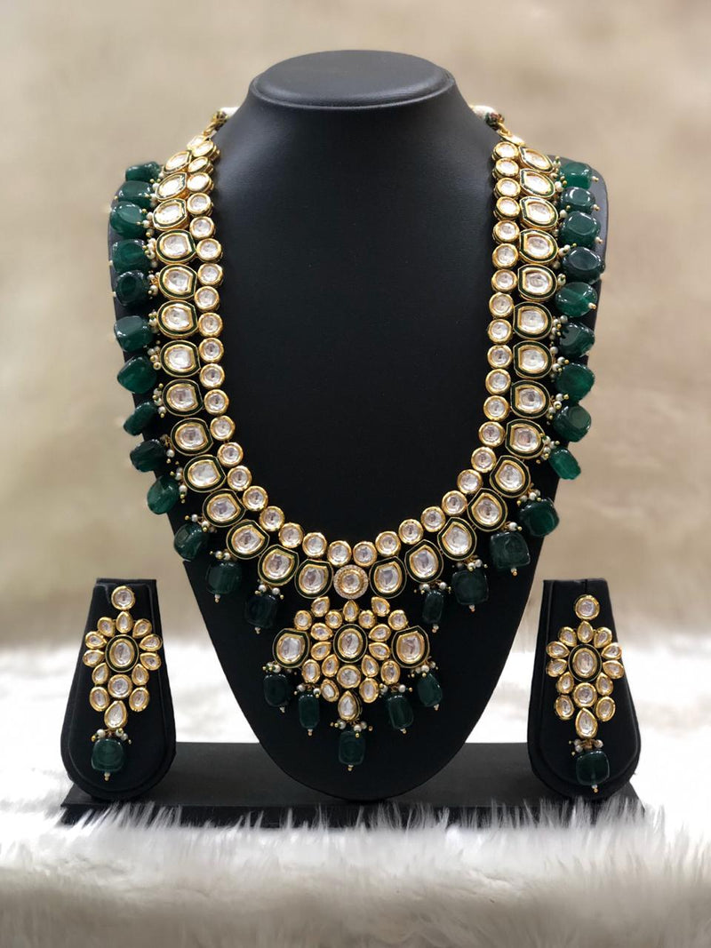 Infinity Pearl Green Kundan Necklace Set