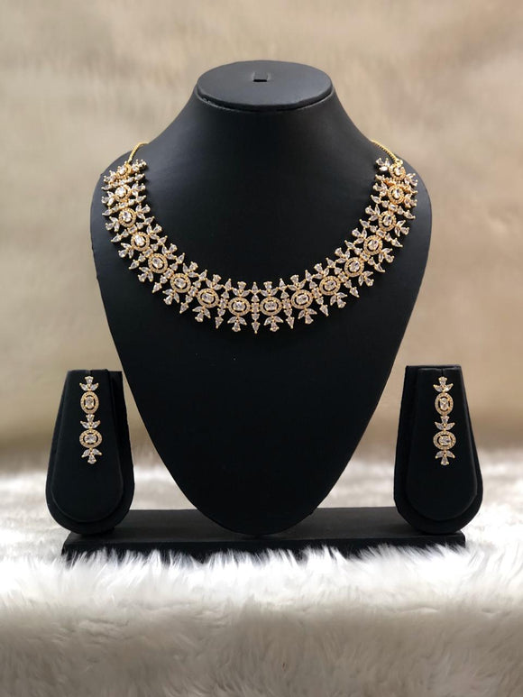 Diamond Studded Designer Necklace Set