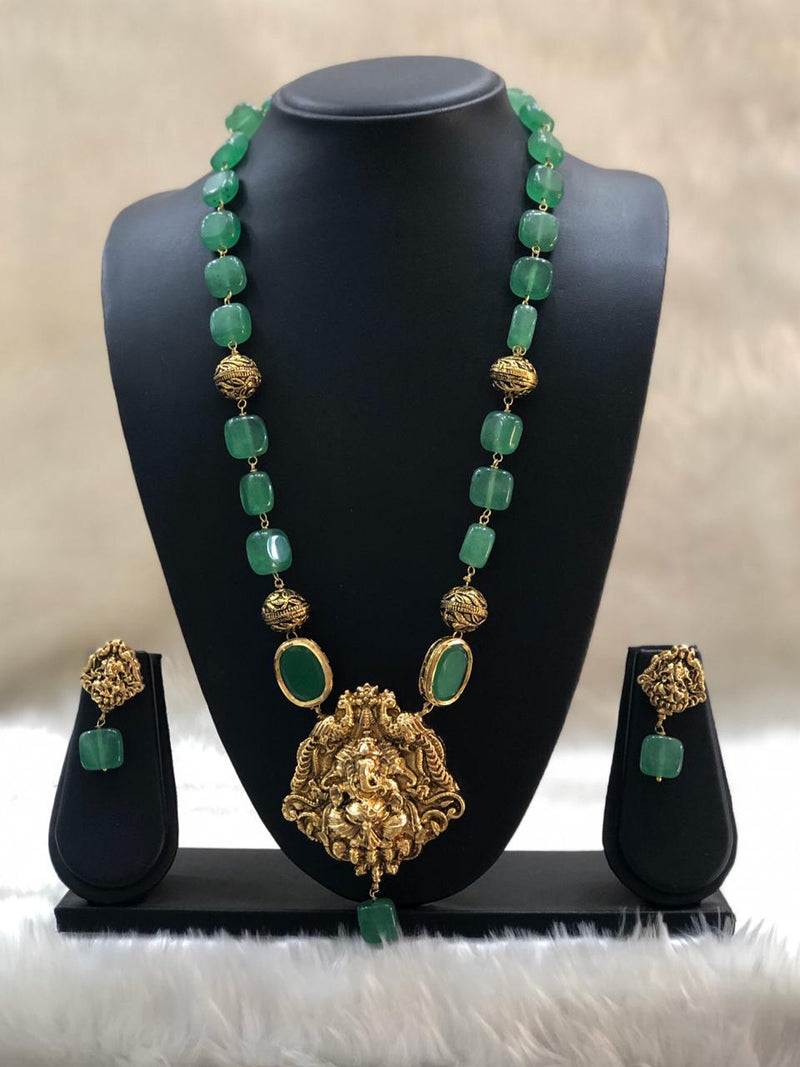 Green Pearl Laxmi Beaded Necklace Set