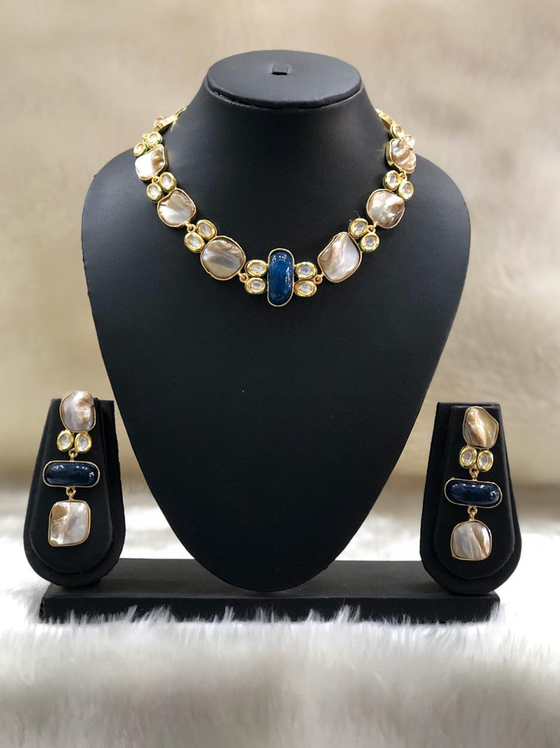Dark Blue Pearl Mother of Pearl Necklace Set