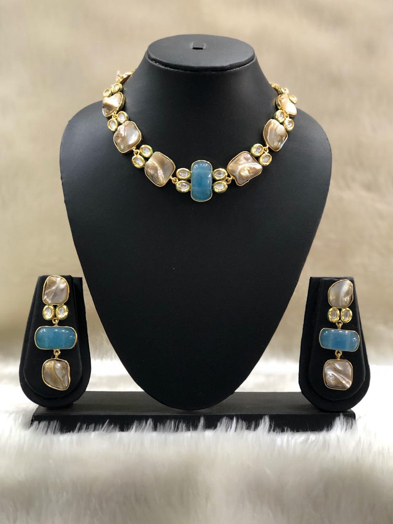 Blue Pearl Mother of Pearl Necklace Set