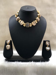 Etruscan Druzy Mother of Pearl Necklace Set