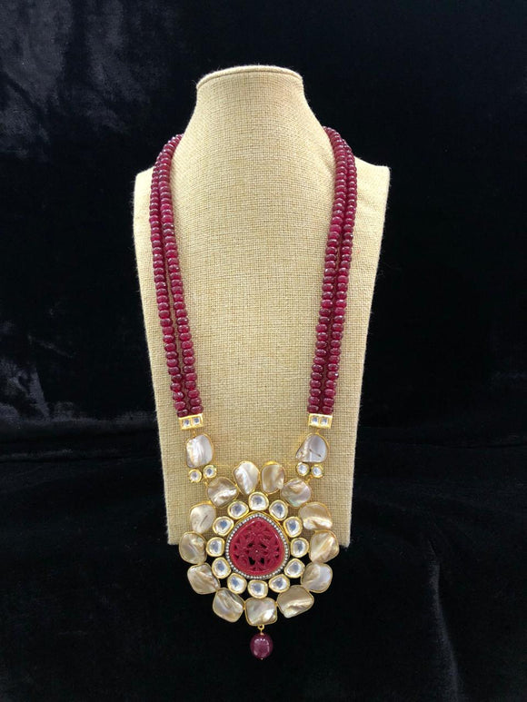 Grevelled In Beauty Red Mother Of Pearl Necklace