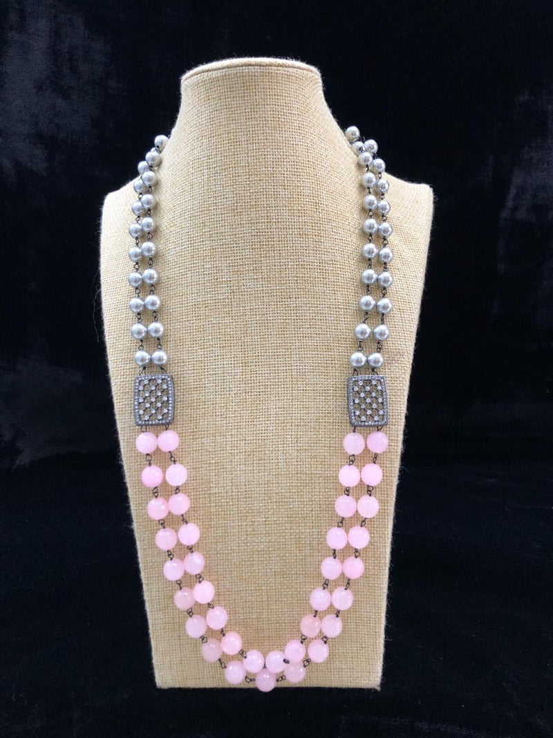 Astonishing Shades of Blush Pink Gemstone Necklace