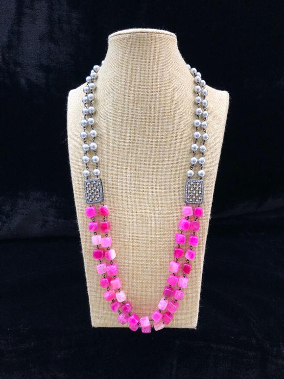 Astonishing Shades of Magenta Pink  Gemstone Necklace