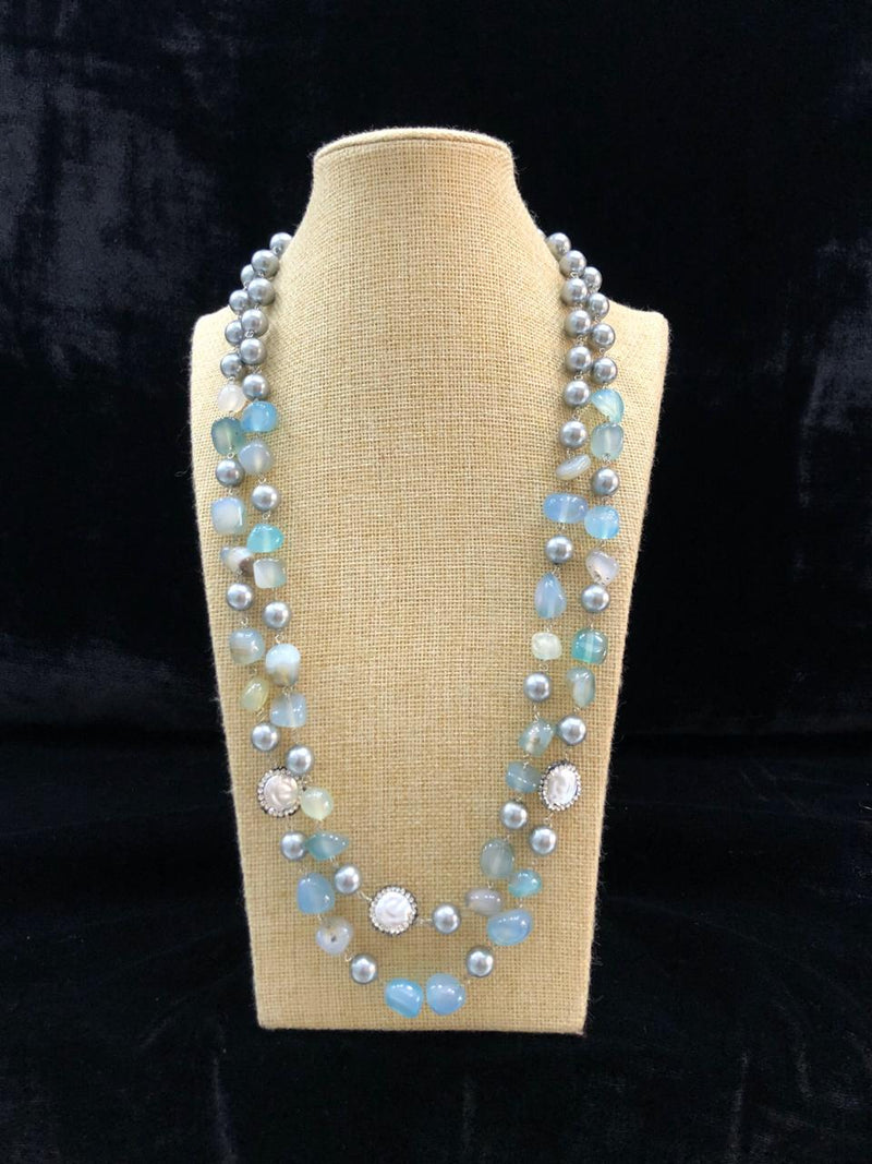 Cyan Blue Fancy Gemstone Necklace